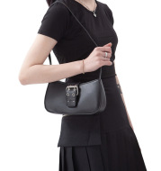 Retro Versatile One shoulder Portable Leather Buckle SmallBlack Bag Underarm Staff