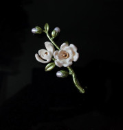 Annie Flower You Are My Heroine, Retro Art And Elegant White Magnolia Brooch Accessories