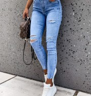 New Style Trousers Feet Pants Washed Water And Ripped Holes Slim Women's Jeans