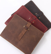 Hand-Made Retro Crazy Horse Leather A5 Manager Folder Business Multifunctional Folder Can Be Customized
