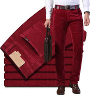 Stretch Casual Pants Men's Corduroy Loose Warm Outer Pants Corduroy Men's Straight