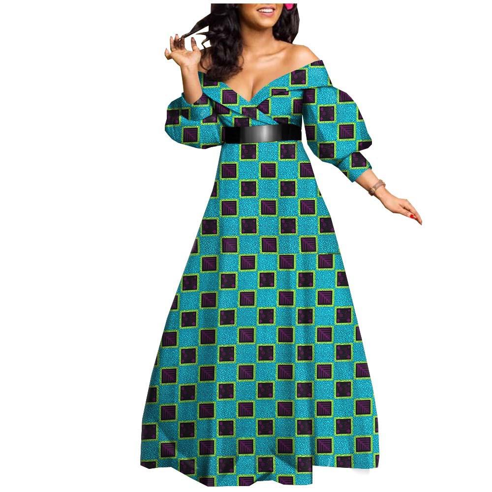 Robes de soirée africaines épaules ouvert multi designs