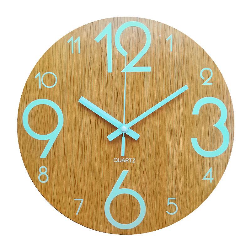 Glow In The Dark Wooden Wall Clock 10