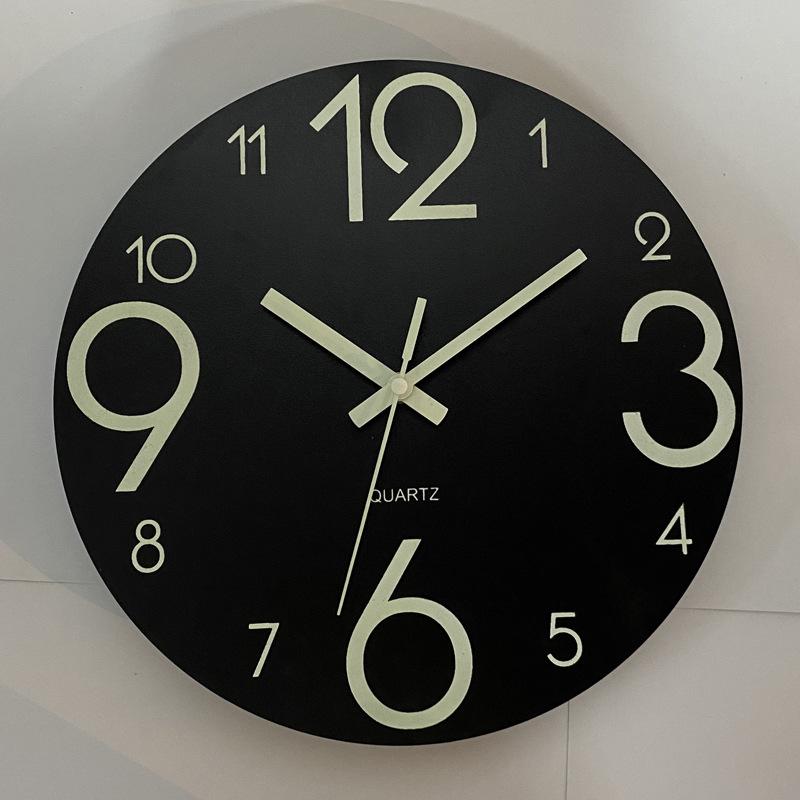 Glow In The Dark Wooden Wall Clock 12