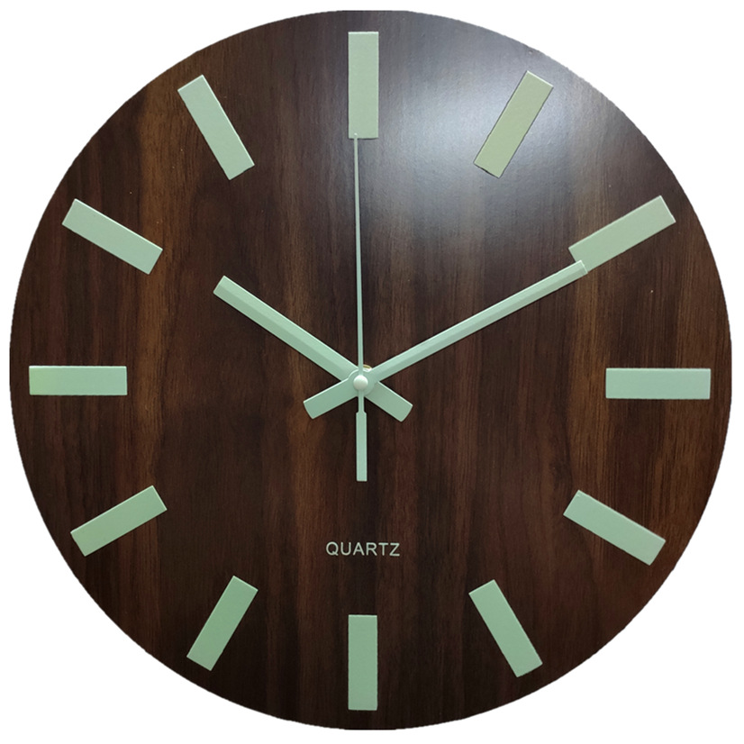 Glow In The Dark Wooden Wall Clock 13