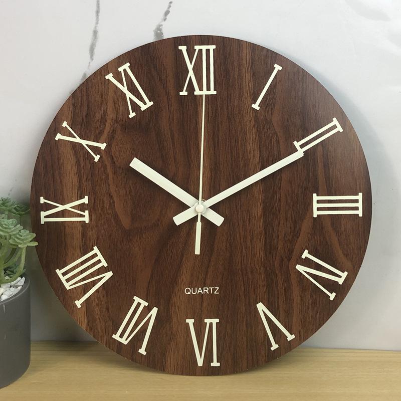 Glow In The Dark Wooden Wall Clock 15