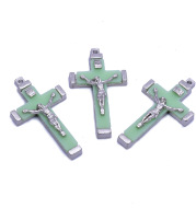 Metal Luminous Cross Jesus Christ Bitter Image Pendant Accessories Religious Jewelry