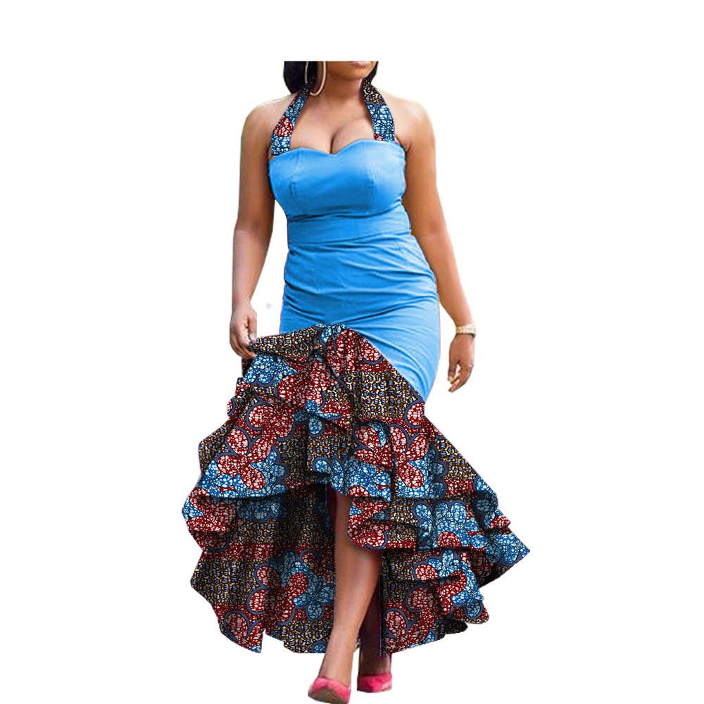 Robes de soirée africaines 1 ton + tissu pagne
