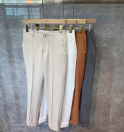 Men's Casual Cropped Trousers Straight Trousers