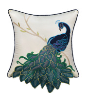 New Chinese Style Soft Furnishing Living Room Sofa Pillow With Long Tail Peacock Embroidery Embroidered Waist Pillowcase Bed Pillowcase