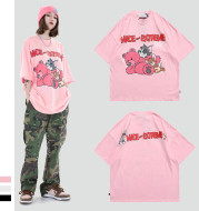 MADEEXTREME Street Fashion Brand 2021 Spring And Summer Men's Mouse Cartoon Print Loose Retro Short-Sleeved T-shirt