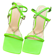 Fluorescent Green Sandals Women''s 2021 New Ins Net Red European And American