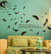 Wall Stickers Wallpaper Wholesale Feather Angel Three Generations Removable Bedroom Living Room Decoration Wall Stickers