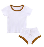 Pure Cotton Pit Strip Suit Light And Western Style Baby 2-piece Set
