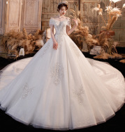 Wedding Dress Trailing Heavy Industry One-shoulder Bridal Temperament Female Forest Super Fairy Dream Starry Sky Skirt