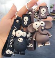 Funny Ugly Cute Eye-Eyed Elephant Keychain Cute Cartoon Epoxy Eye-Eyed Cow Car Key Chain Ring Bag Pendant