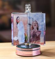 Customized Rotating Windmill Photo Album Crystal Wedding Glowing Frames Music Box