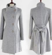 Woolen Women's Coat Mid Length Single Breasted Belted Woolen Coat