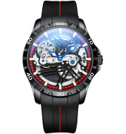Ailang Watch Manufacturers Directly Supply Fully Automatic Mechanical Watches Vibrato Creative Hollow Men's Watch Generation Silicone Band Watch