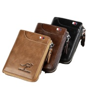 Vertical Two-fold Men's Short Wallet With Zipper And Anti-degaussing Brush