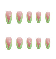 PD-57 Ballet Green French Net Red Fake Nail Sticker Nail Nail Patch Can Be Taken Off And Worn By Women