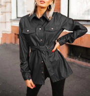 Fashion Womens Solid Color Casual Temperament Belt Pocket Lapel Leather Shirt