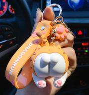 Fashion Corgi Ass Keychain Creative Net Red Cat Ass Key Chain Car Bag Ornament Personality