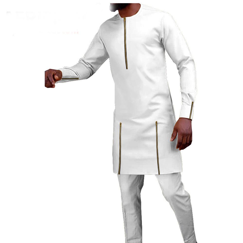 Costume africain 2 pièces slim couleur unique