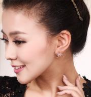 Square zircon earrings Tic-Tac-Toe Hollow Copper Earrings