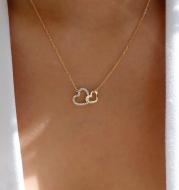 Love Necklace Temperament Double Peach Heart Pendant Clavicle Chain