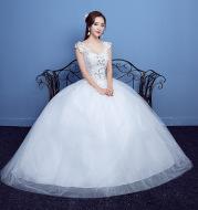 Red Double Shoulder Diamond Lace Wedding Dress