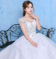Luxury Wedding Dress With Fat Diamonds Embellished Summer And Spring One-shoulder Wedding Dress