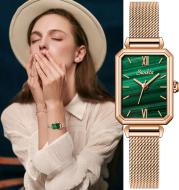 Ladies Watch Malachite Green Small Green Watch Fashion Retro Square Waterproof Female Watch