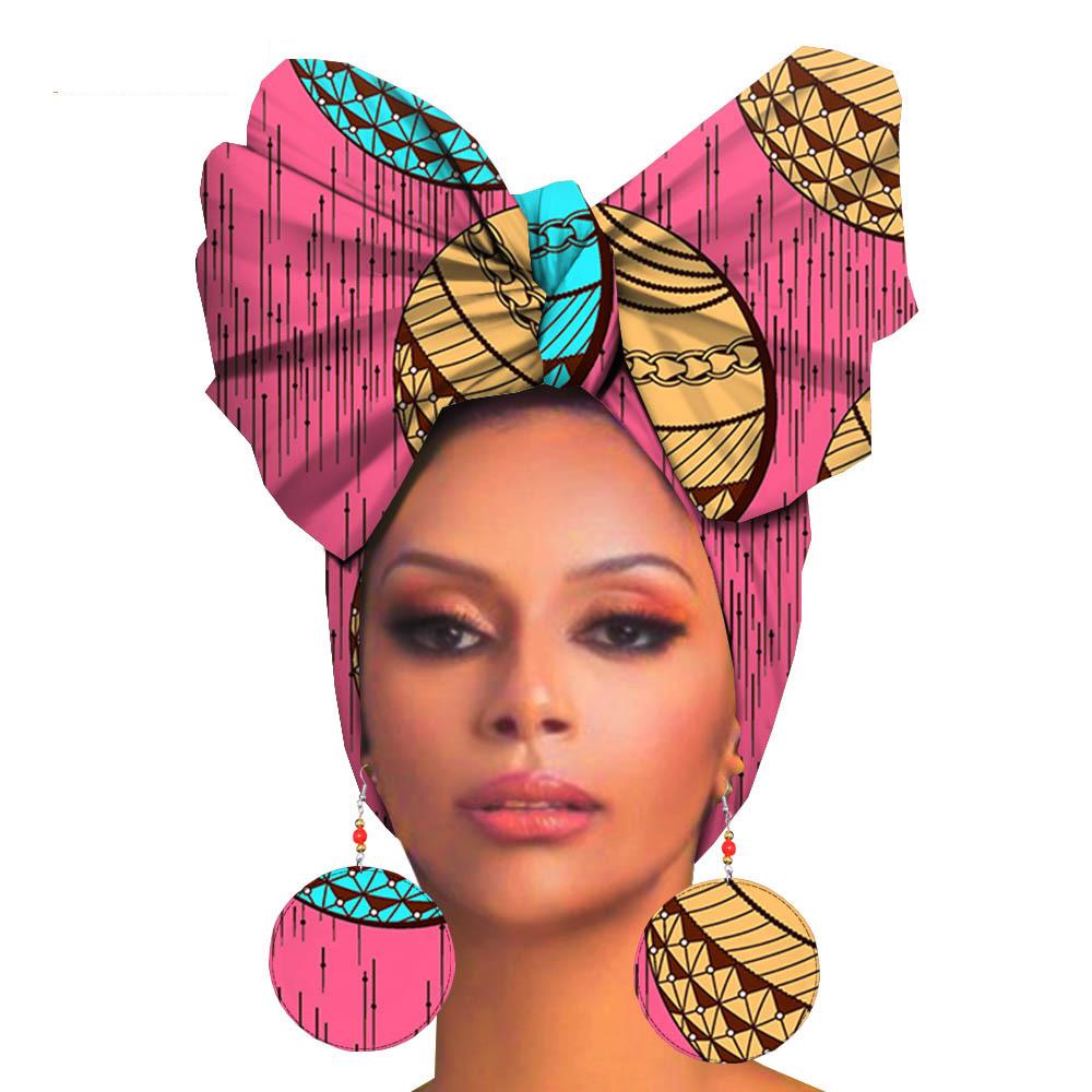Boucles d'oreilles + chapeau pagne en coton
