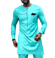 Foreign Trade Spring Youth Round Neck Casual Solid Color Cotton African Ethnic Style Men's Robe Shirt