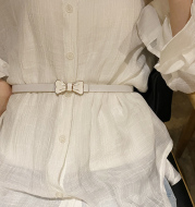 Thin Belt Decorated Dress With Skirt Sweater Big And SimpleAnd Versatile Fashion Korean Belt Female Korean Gown
