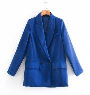 ZA Women 2020 Fashion Office Wear One Button Blazer Coat Vintage Long Sleeve Pockets Female Outerwear Chic Tops