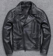 Fashion Men's Leather Diagonal Zipper Jacket