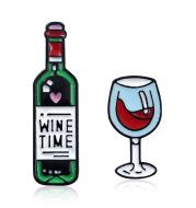 Red Wine Bottle Wine Glass Dripping Brooch Badge Jewelry