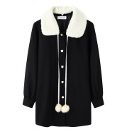 Blends Women Winter Coat Ladies Clothes Kawaii Plus Velvet Thicker Pure Warm Stylish All-match Students Female Wool Daily Unique