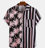 Men Clothing 2021 Summer New Men's Coconut Print Striped Stitching Casual Holiday Shirt Short-sleeved Camisas Para Hombre