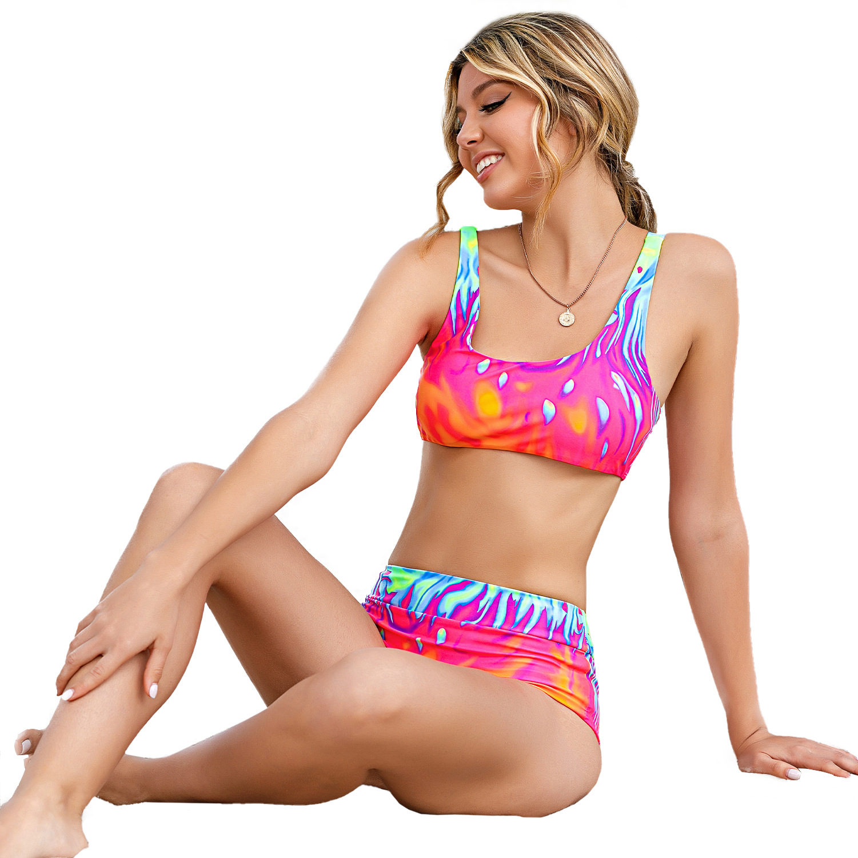 2021 European And American New Gradient High Waist Split Bikini Wide Shoulder Strap Flame Back Sexy Swimsuit Bikini 7