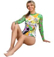 Ladies Long Sleeve Surfing Suit Printed Split Swimsuit