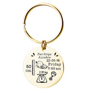Newborn Baby Commemorative Birth Card Personalized Custom Stainless Steel Keychain Customization