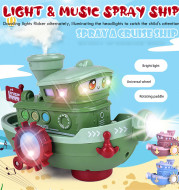 Electric Water Rotating Spray Ship Toys Cartoon Boat Funny Baby Bath Toys