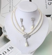 European And American Jewelry Bride Pearl Crystal With Short Collarbone Neck Necklace Set Earrings Korean Version Temperament