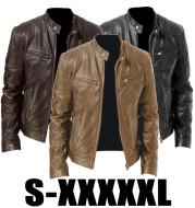 Gentleman's Warm Zipper Cardigan Pocket Decorated Pu Leather Coat