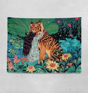 Girl And Tiger Fresh Wall Cloth Girls Bedroom Wall Cloth Rental Room Bedside Decoration Tapestry