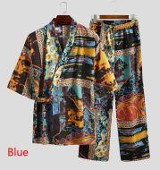 Men Pajamas Sets Men Half Sleeve V Neck Printed Lace Up