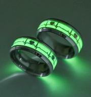 Stainless Steel Luminous Heartbeat Ring ECG Titanium Steel Couple Ring